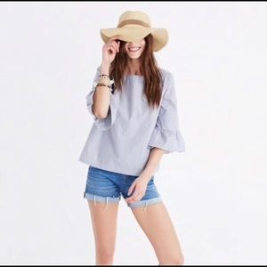 Madewell | Blue Striped Ruffle Blouse Top XS